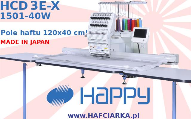HAPPY HCD3E-X 1501-40W - Komputerowa, japońska hafciarka przemysłowa z najwyższej półki