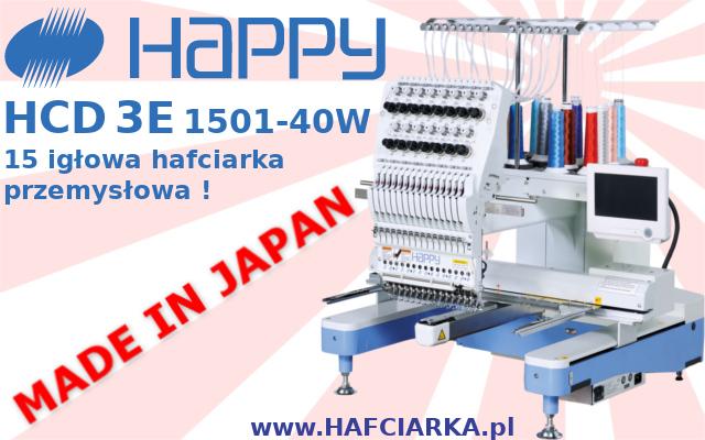 HAPPY HCD 3E 1501-40 - Komputerowa, japońska hafciarka przemysłowa z najwyższej półki